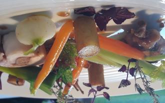 Lapin en trois façon, légumes du marché
