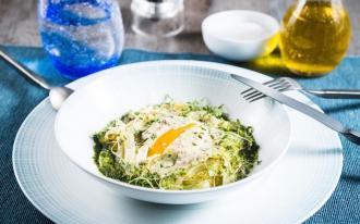 Œufs mollets, copeaux de fenouil, sauce à la moutarde et aux algues
